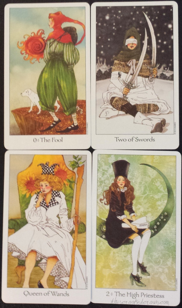 Fool, Two of Swords, Queen of Wands, High Priestess of the Dreaming Way Tarot