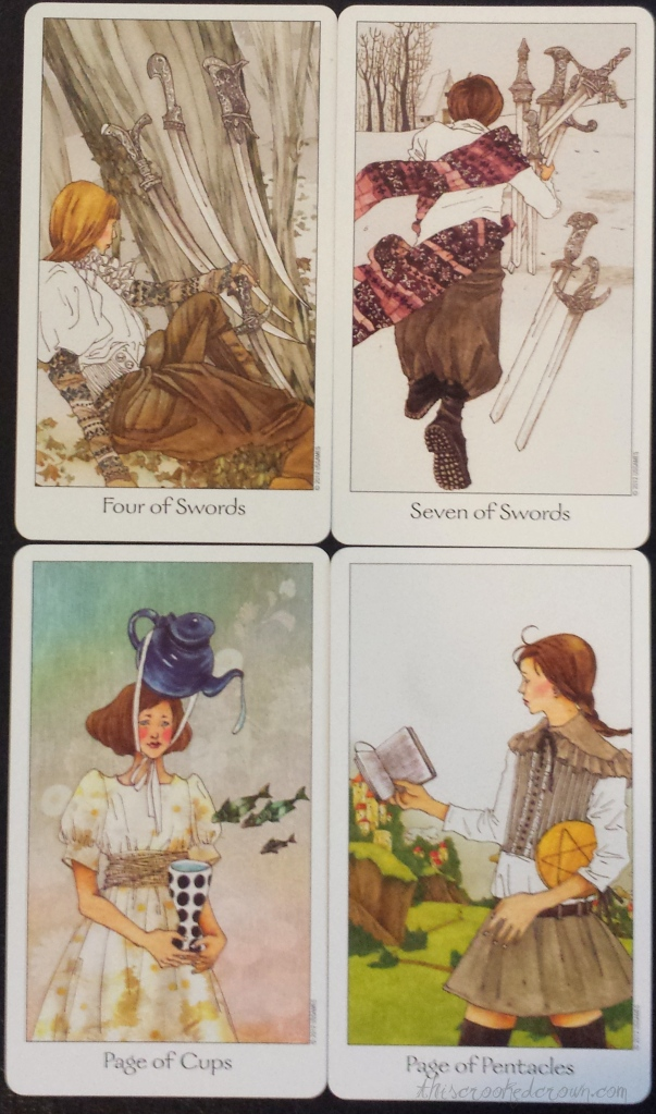 Another set of favorites from the Dreaming Way Tarot.  Four of Swords, Seven of Swords, Page of Cups, Page of Pentacles