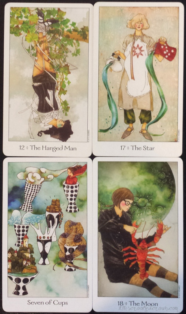 Dreaming Way Tarot's Hanging Man, Star, Seven of Cups, and Moon