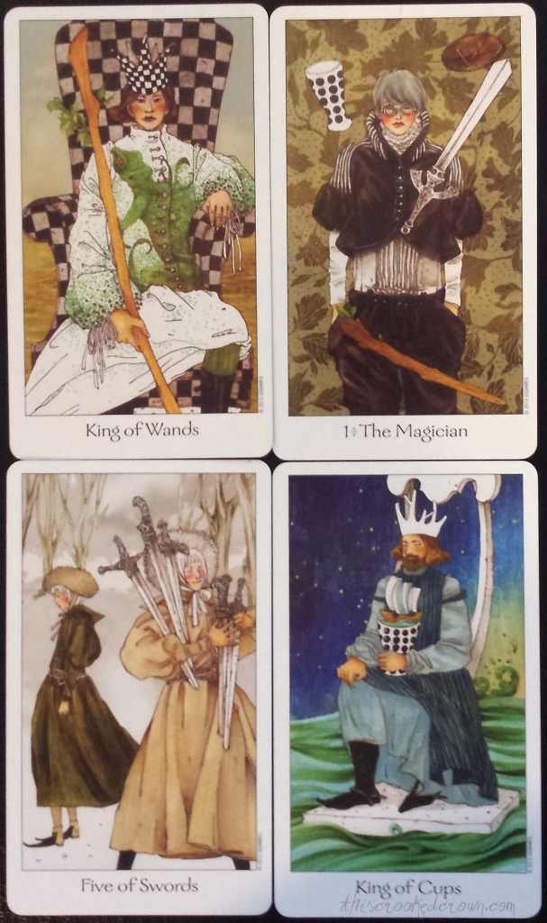 Dreaming Way Tarot's King of Wands, Magician, Five of Swords, and King of Cups