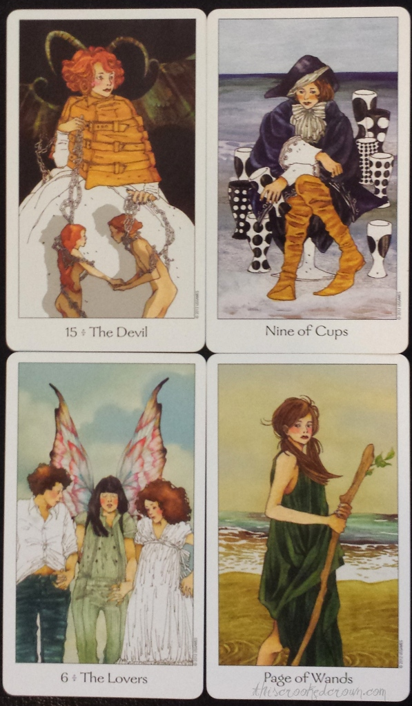 The Dreaming Way Tarot's Devil, Eight of Cups, Lovers, and Page of Wands (another favorite!)