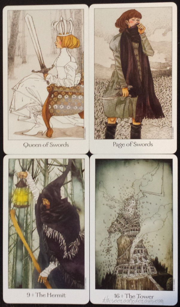 My favorites! The Queen of Swords, Page of Swords, the Hermit, and the Tower from the Dreaming Way Tarot