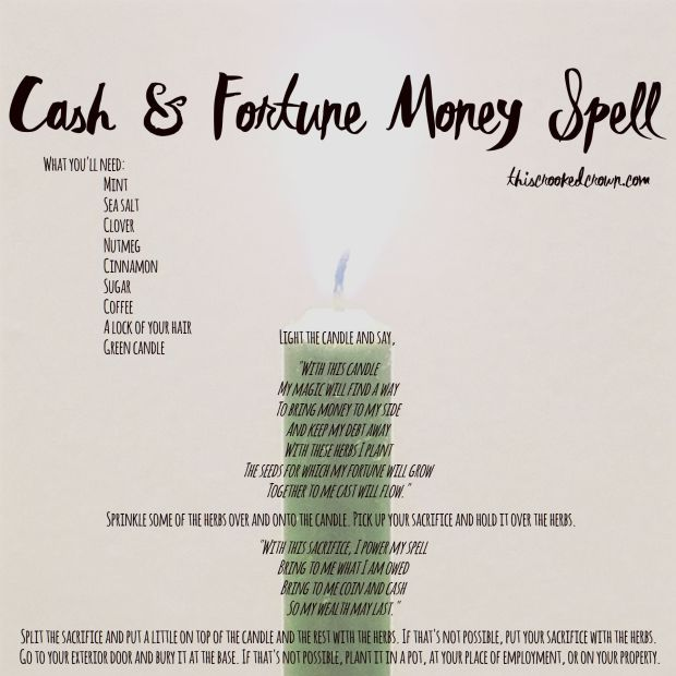 Cash & Fortune Money Spell (Spell Saturday #36) – This Crooked Crown
